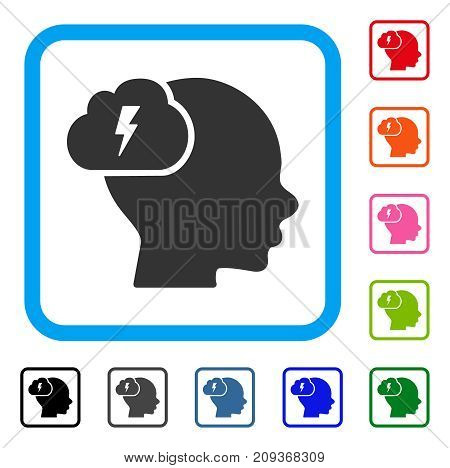 Brainstorm icon. Flat grey iconic symbol in a light blue rounded frame. Black, gray, green, blue, red, orange color additional versions of Brainstorm vector. Designed for web and software UI.