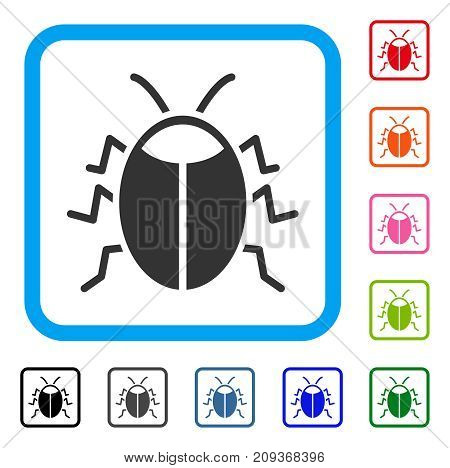 Bug icon. Flat gray pictogram symbol in a light blue rounded squared frame. Black, gray, green, blue, red, orange color additional versions of Bug vector. Designed for web and app user interface.