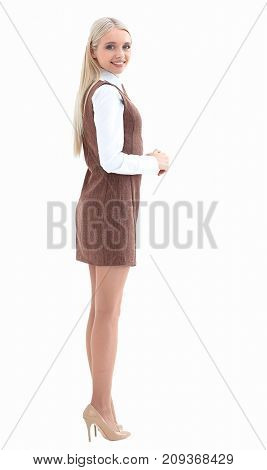 side view. modern young business woman
