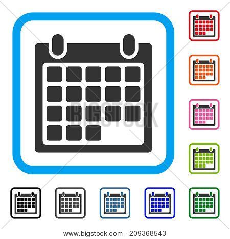 Calendar Appointment icon. Flat gray pictogram symbol in a light blue rounded frame. Black, gray, green, blue, red, orange color additional versions of Calendar Appointment vector.