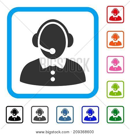 Call Center Woman icon. Flat grey iconic symbol in a light blue rounded frame. Black, gray, green, blue, red, orange color variants of Call Center Woman vector. Designed for web and software UI.