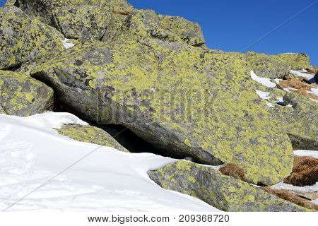 The stones are near ski in Jasna Low Tatras Slovakia