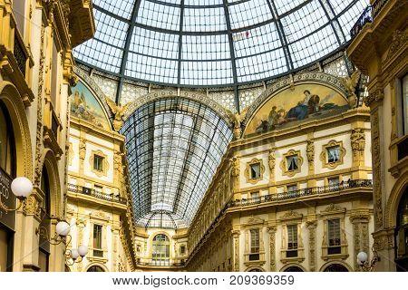 MILAN, ITALY - March 16, 2017: Galleria Vittorio Emanuele II Milan