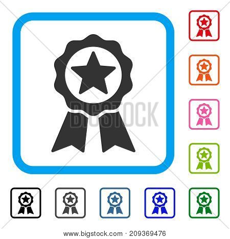 Certification Seal icon. Flat grey pictogram symbol in a light blue rounded frame. Black, gray, green, blue, red, orange color versions of Certification Seal vector.