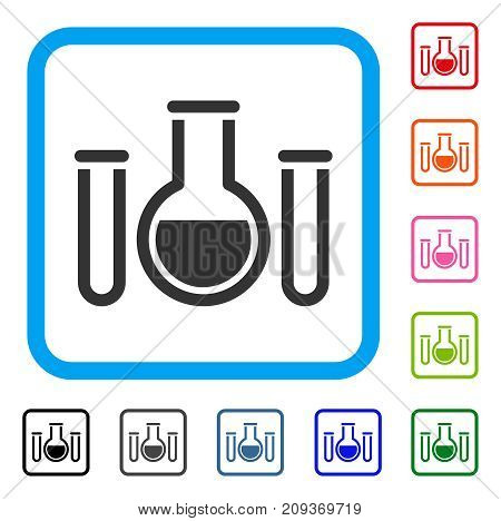 Chemical Vessels icon. Flat gray iconic symbol in a light blue rounded squared frame. Black, gray, green, blue, red, orange color versions of Chemical Vessels vector. Designed for web and app UI.
