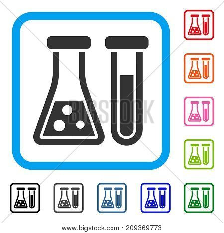 Chemistry icon. Flat grey iconic symbol in a light blue rounded square. Black, gray, green, blue, red, orange color versions of Chemistry vector. Designed for web and app interfaces.