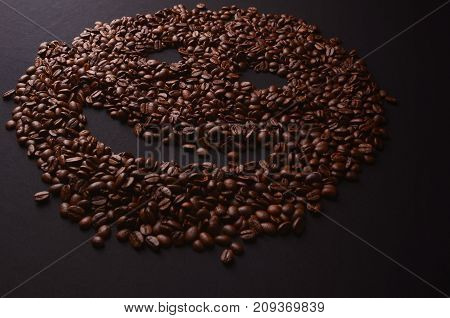 Coffee Smiley Face Made Out Coffee Beans Background, Isolated Over A Gray Background.