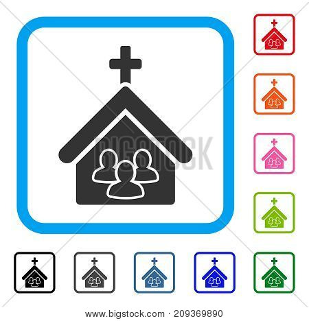 Church People icon. Flat gray iconic symbol in a light blue rounded rectangle. Black, gray, green, blue, red, orange color variants of Church People vector. Designed for web and app UI.