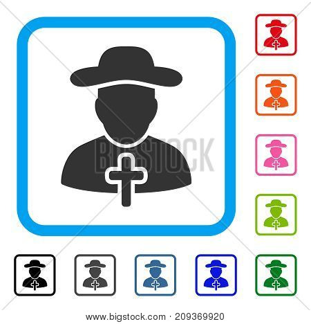 Cleric icon. Flat grey pictogram symbol inside a light blue rounded frame. Black, gray, green, blue, red, orange color versions of Cleric vector. Designed for web and software UI.