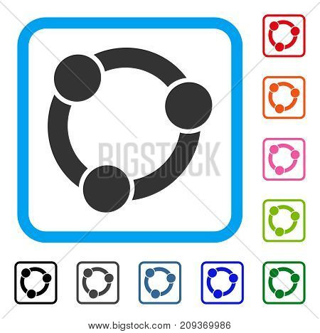 Collaboration icon. Flat grey iconic symbol in a light blue rounded rectangular frame. Black, gray, green, blue, red, orange color versions of Collaboration vector. Designed for web and software UI.