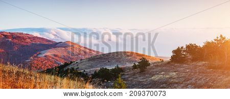Picture of a scenic valley in morning light. Location Crimea, Crimean peninsula, Ukraine, Europe. Perfect wallpapers. Discover the beauty of earth. Great photo of wild area. Concept of active tourism.