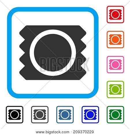 Condom icon. Flat grey iconic symbol in a light blue rounded rectangular frame. Black, gray, green, blue, red, orange color versions of Condom vector. Designed for web and application UI.