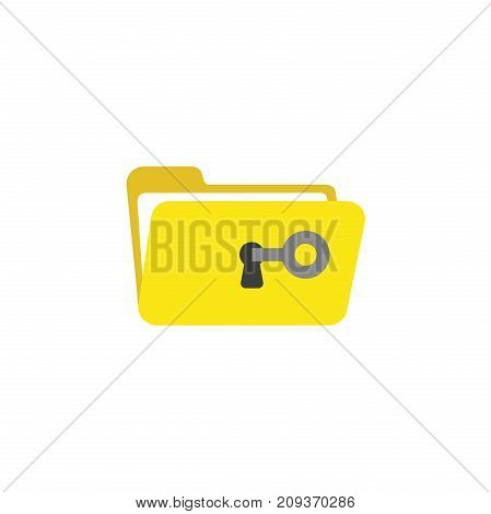 Flat Design Style Vector Concept Of Key Unlock Or Open Folder Keyhole