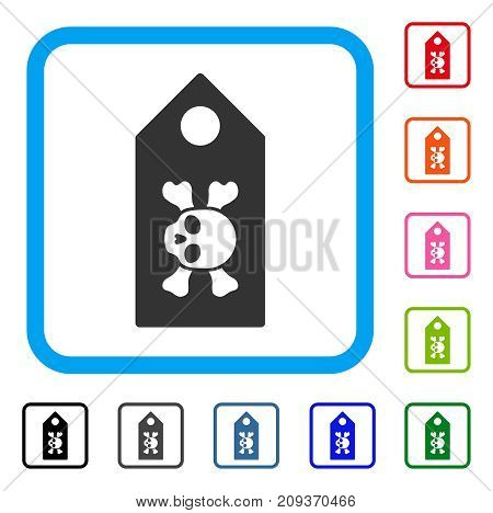 Death Label icon. Flat gray iconic symbol inside a light blue rounded squared frame. Black, gray, green, blue, red, orange color versions of Death Label vector. Designed for web and app UI.