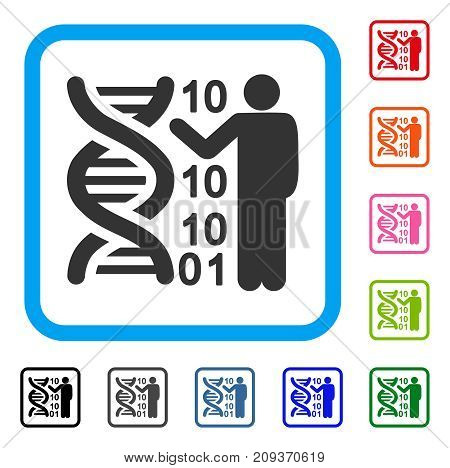 DNA Code Report icon. Flat grey pictogram symbol in a light blue rounded rectangle. Black, gray, green, blue, red, orange color variants of DNA Code Report vector. Designed for web and app interfaces.