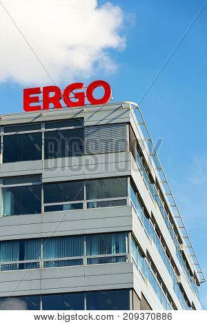 Prague, Czech Republic - October 14: Ergo Group From German Munich Re Insurance Companies Logo On Bu