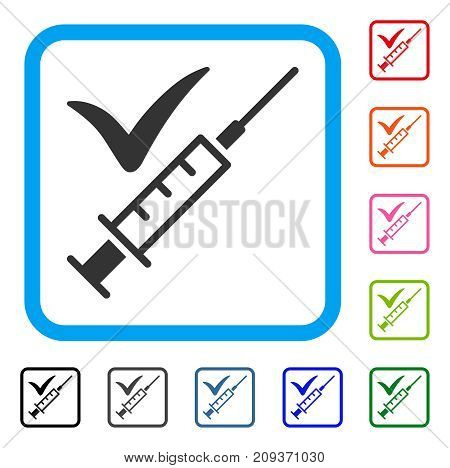Done Vaccination icon. Flat grey iconic symbol in a light blue rounded squared frame. Black, gray, green, blue, red, orange color versions of Done Vaccination vector.
