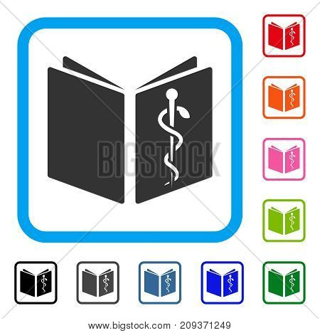 Drug Handbook icon. Flat grey iconic symbol in a light blue rounded square. Black, gray, green, blue, red, orange color variants of Drug Handbook vector. Designed for web and application interfaces.