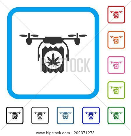 Drugs Drone Delivery icon. Flat grey pictogram symbol inside a light blue rounded rectangular frame. Black, gray, green, blue, red, orange color variants of Drugs Drone Delivery vector.