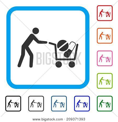 Drugs Shopping Cart icon. Flat grey iconic symbol inside a light blue rounded rectangle. Black, gray, green, blue, red, orange color additional versions of Drugs Shopping Cart vector.