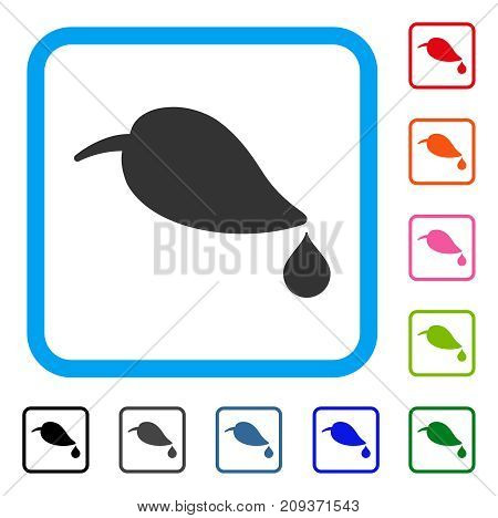 Ecology icon. Flat gray iconic symbol in a light blue rounded frame. Black, gray, green, blue, red, orange color variants of Ecology vector. Designed for web and application UI.