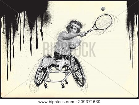 WHEELCHAIR TENNIS. From the series SILENT HEROES - Athletes with physical disabilities. An hand drawn vector.