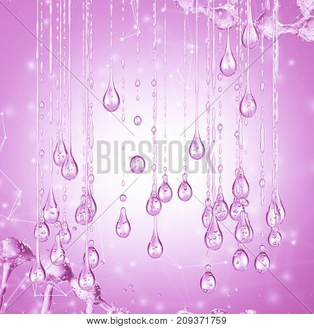 3D detailed illustration of a drop of water pink color. 3d rendering