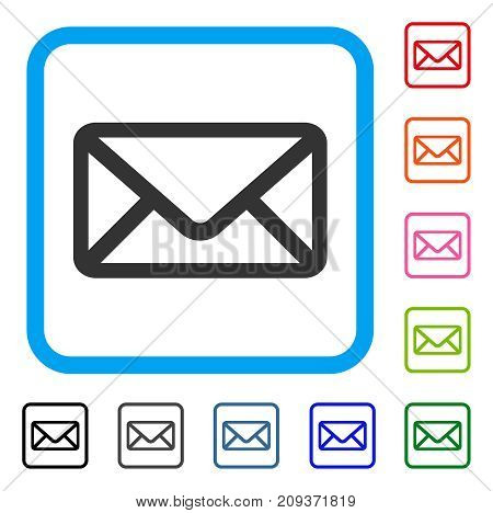 Envelope icon. Flat gray pictogram symbol inside a light blue rounded rectangle. Black, gray, green, blue, red, orange color additional versions of Envelope vector.