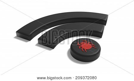 Black Wifi symbol with a red bug on the dot on white background cybersecurity compromised WPA 2 encryption concept 3D illustration