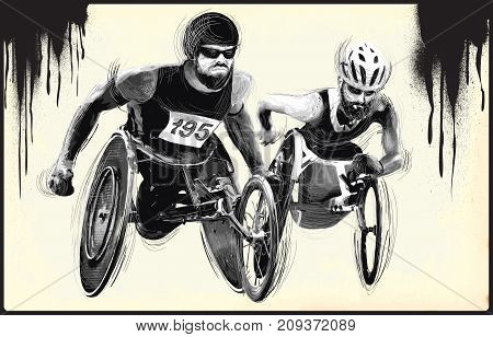 WHEELCHAIR RACING. From the series SILENT HEROES - Athletes with physical disabilities. An hand drawn vector