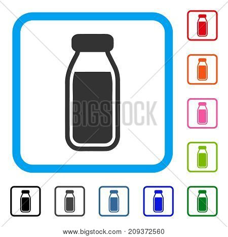Full Bottle icon. Flat gray iconic symbol in a light blue rounded rectangular frame. Black, gray, green, blue, red, orange color additional versions of Full Bottle vector.