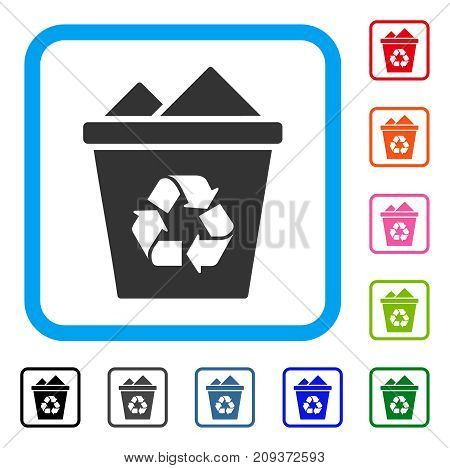 Full Recycle Bin icon. Flat grey pictogram symbol in a light blue rounded squared frame. Black, gray, green, blue, red, orange color variants of Full Recycle Bin vector.