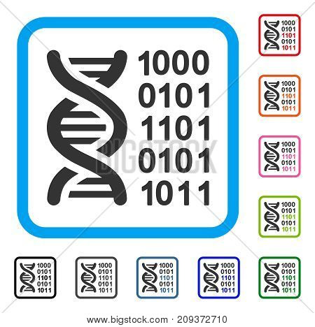 Genetical Code icon. Flat gray iconic symbol inside a light blue rounded frame. Black, gray, green, blue, red, orange color versions of Genetical Code vector. Designed for web and app UI.