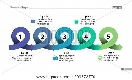 Five points process chart slide template. Business data. Scheme, diagram, design. Creative concept for infographic, presentation, report. Can be used for topics like marketing, economics, production.