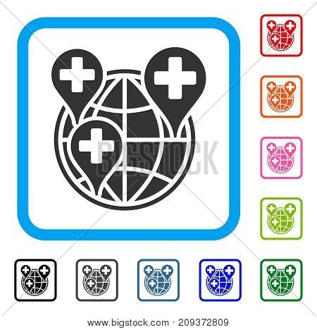 Global Clinic Company icon. Flat grey iconic symbol in a light blue rounded frame. Black, gray, green, blue, red, orange color versions of Global Clinic Company vector.