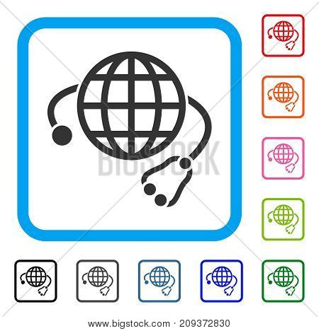 Global Medicine icon. Flat gray iconic symbol inside a light blue rounded square. Black, gray, green, blue, red, orange color additional versions of Global Medicine vector.