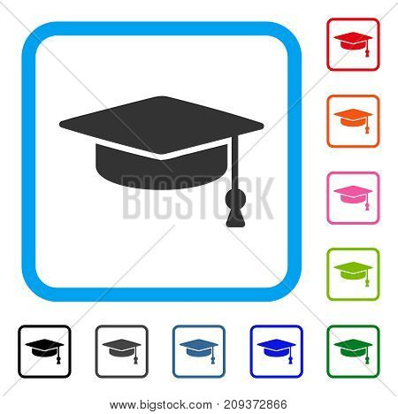 Graduation Cap icon. Flat grey iconic symbol inside a light blue rounded frame. Black, gray, green, blue, red, orange color additional versions of Graduation Cap vector.