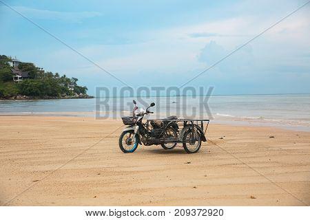 Phuket Thailand. Coast. Kata beach. Early morning. Stone and jungle