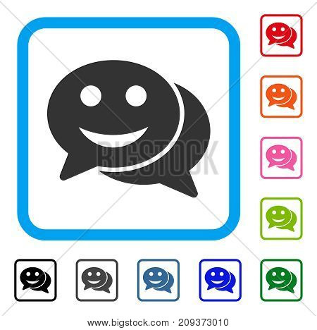 Happy Chat icon. Flat gray pictogram symbol inside a light blue rounded square. Black, gray, green, blue, red, orange color versions of Happy Chat vector. Designed for web and app user interface.