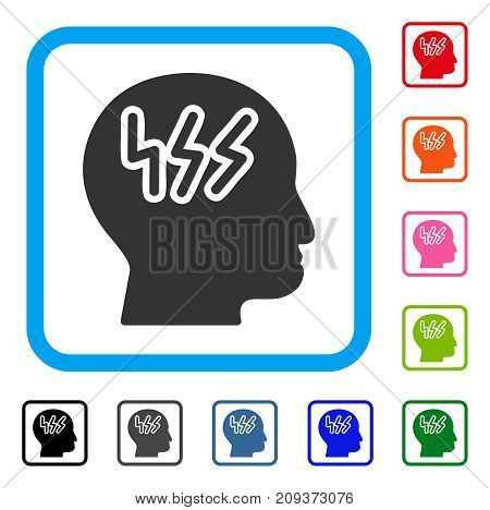 Headache icon. Flat grey pictogram symbol in a light blue rounded rectangle. Black, gray, green, blue, red, orange color additional versions of Headache vector.
