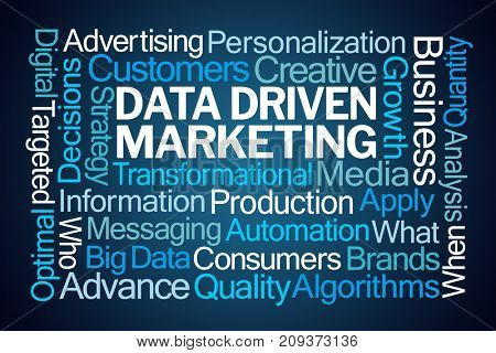 Data Driven Marketing Word Cloud on Blue Background