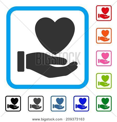 Heart Charity icon. Flat gray iconic symbol in a light blue rounded frame. Black, gray, green, blue, red, orange color additional versions of Heart Charity vector.