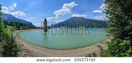 Reschensee Lake in South Tyrol Italy near Austria and Switzerland.