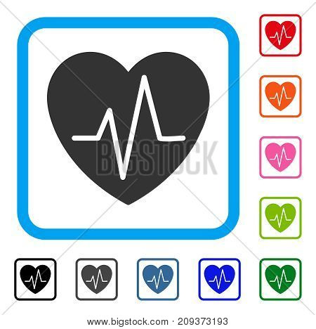 Heart EKG icon. Flat gray iconic symbol in a light blue rounded frame. Black, gray, green, blue, red, orange color versions of Heart EKG vector. Designed for web and software user interface.