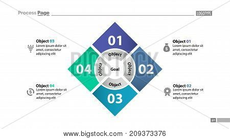 Four squares process chart slide template. Business data. Step, diagram, design. Creative concept for infographic, presentation, report. Can be used for topics like management, finance, teamwork.