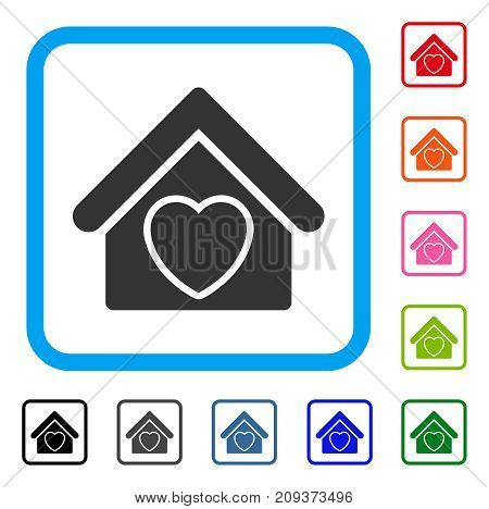 Hospice icon. Flat grey iconic symbol in a light blue rounded rectangular frame. Black, gray, green, blue, red, orange color variants of Hospice vector. Designed for web and software user interface.