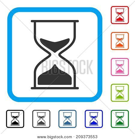 Hourglass icon. Flat grey pictogram symbol inside a light blue rounded frame. Black, gray, green, blue, red, orange color variants of Hourglass vector. Designed for web and software user interface.