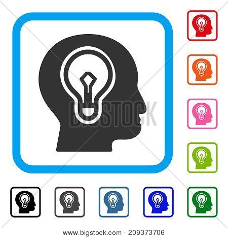 Idea Bulb icon. Flat gray iconic symbol in a light blue rounded square. Black, gray, green, blue, red, orange color additional versions of Idea Bulb vector.