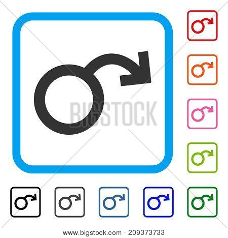 Impotence icon. Flat gray pictogram symbol inside a light blue rounded rectangular frame. Black, gray, green, blue, red, orange color versions of Impotence vector. Designed for web and app interfaces.