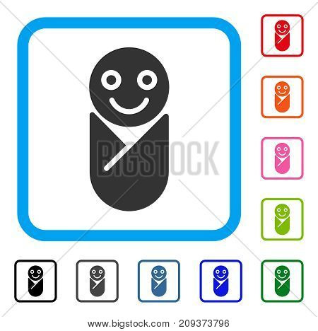 Infant icon. Flat gray pictogram symbol inside a light blue rounded squared frame. Black, gray, green, blue, red, orange color versions of Infant vector. Designed for web and app user interface.